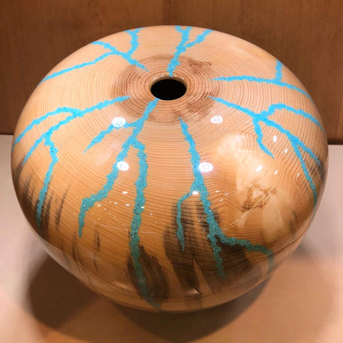 Robert Cherry Beautiful Wooden Vessel Natural With Turquoise Inlay