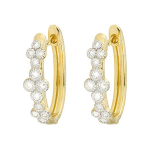 A pair of diamond hoop earrings made by Jude Frances Santa Fe Jewelry