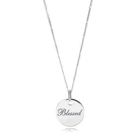 Blessed Disc Pendant and Necklace Chain, Grey Enamel