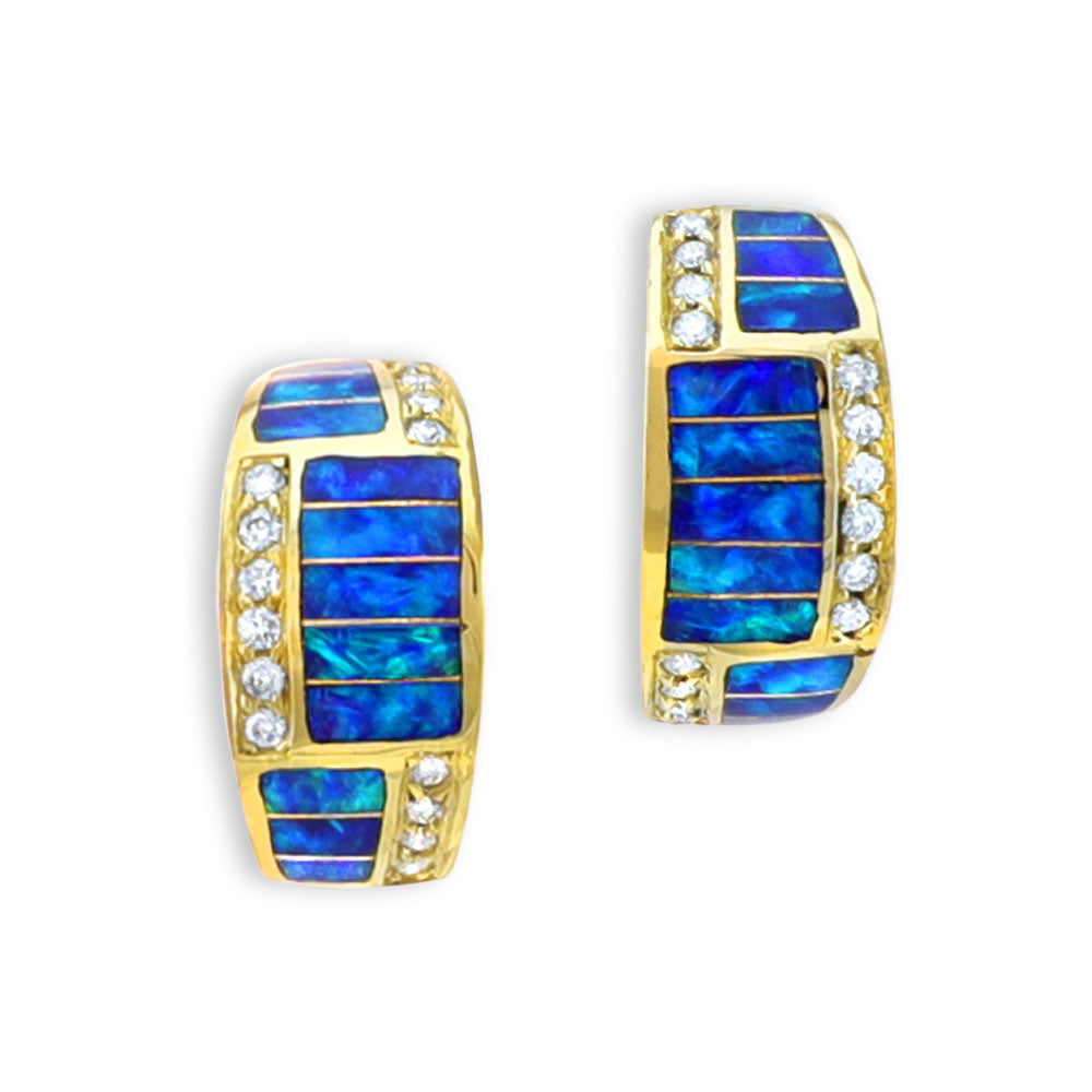 Opal Inlay 14k Gold Earrings with Diamonds.