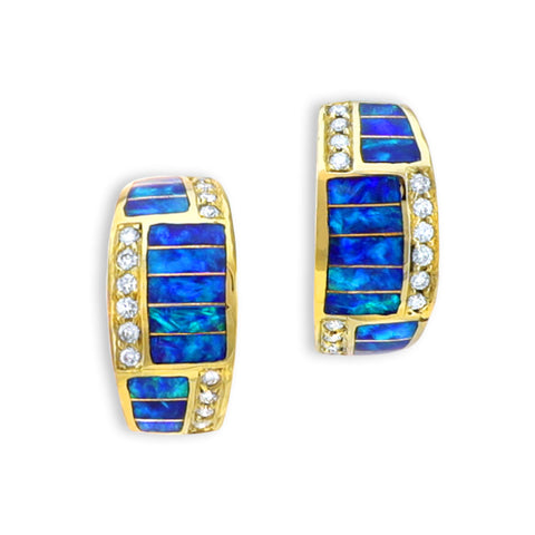 Opal Inlay 14K Gold Earrings With Diamonds
