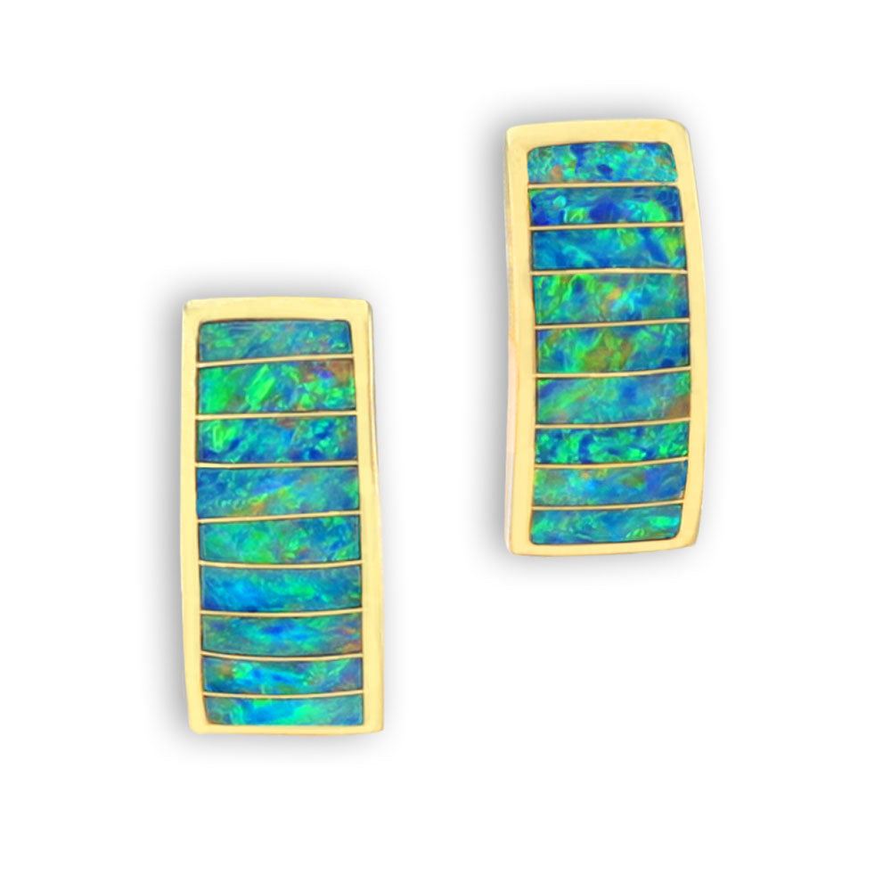 Opal Inlay Earrings 14K Gold Rectangle Ladder Design