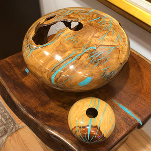 Eric Lima Wood Vase Decor With Turquoise Inlay