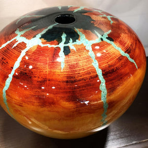 Robert Cherry Beautiful Wooden Vessel Sunset Colors With Turquoise Inlay