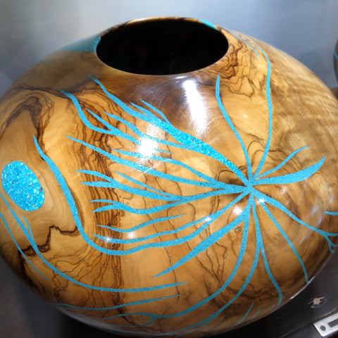 Eric Lima Large Wood Vase Decor With Intricate Turquoise Inlay
