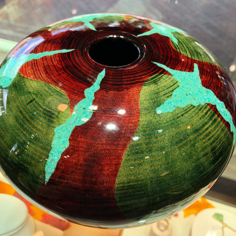 Robert Cherry Beautiful Wooden Vessel Green and Red With Turquoise Inlay