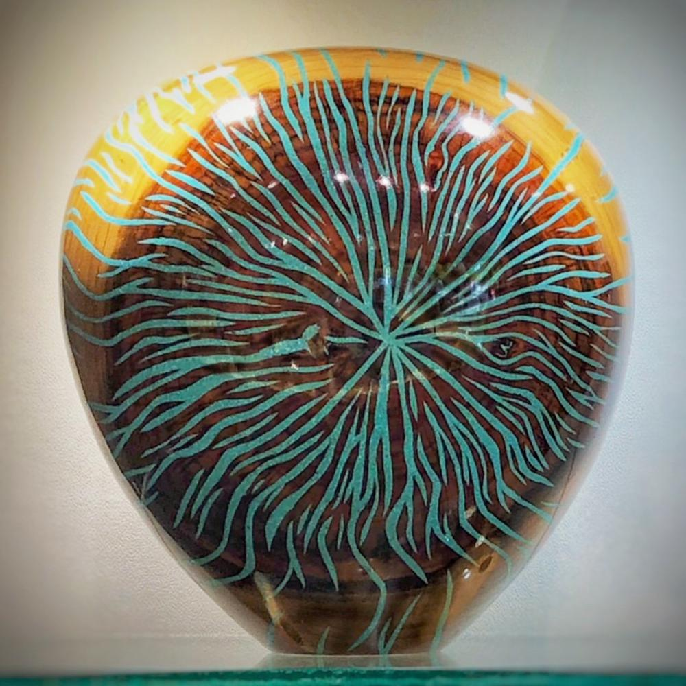 Eric Lima Natural Wood Vase Decor With Turquoise Inlay