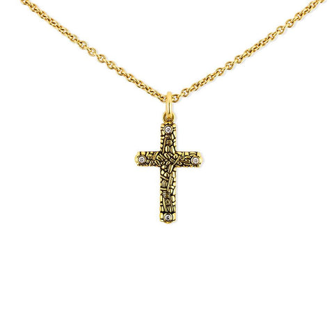 Alex Sepkus Handmade 18K Cross Pendant With Diamonds