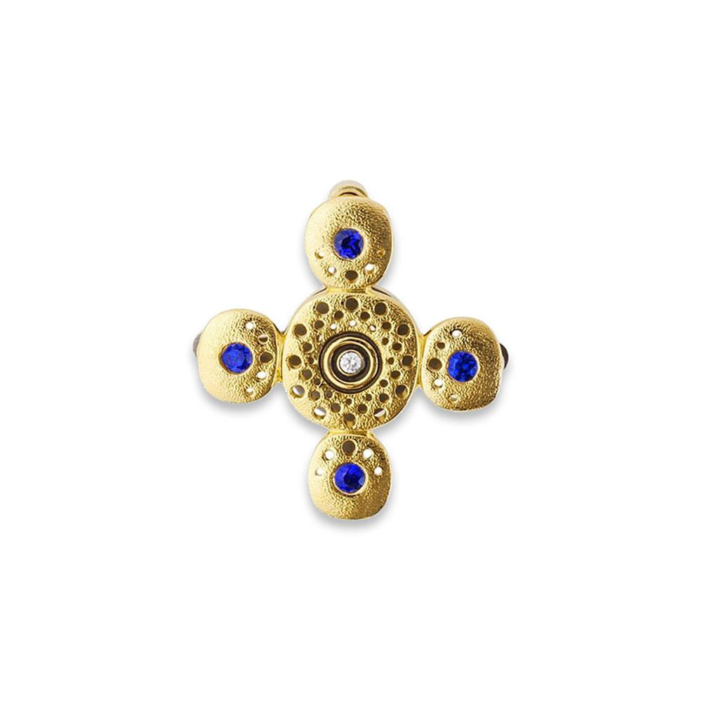 Alex Sepkus sapphire and diamond cross pendant