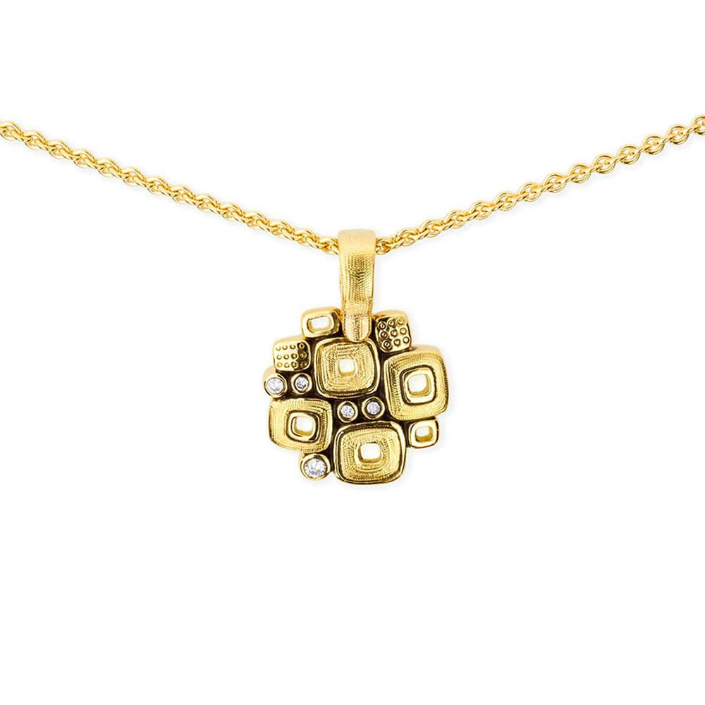 Alex Sepkus Handmade 18K Gold Square Pendant With Diamonds