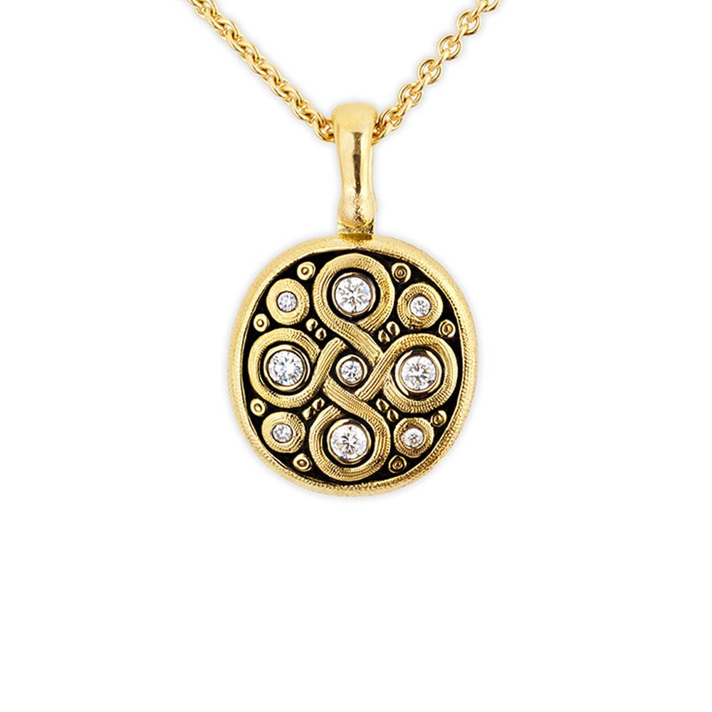 Alex Sepkus 18k Gold Diamond Oval Pendant