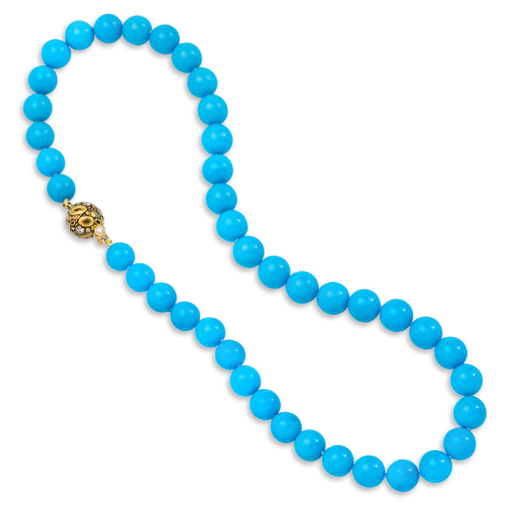 Rare Sleeping Beauty Turquoise Round Bead Necklace