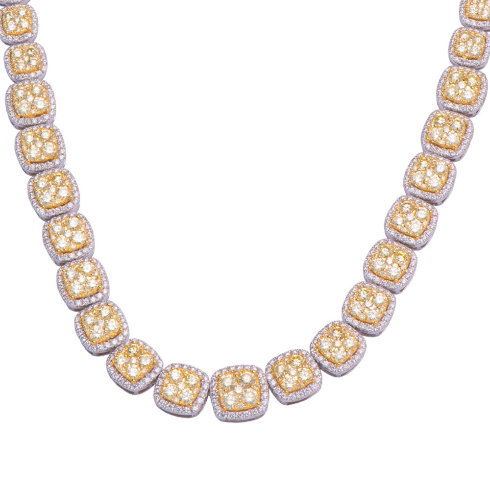 Sparkling Yellow and White Diamond Necklace 18K