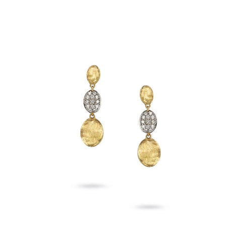 A pair of Gold and Diamond triple drop earrings by marco bicego .