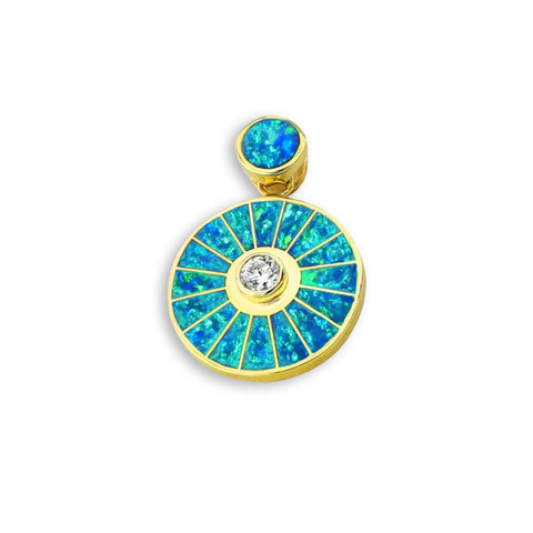 Diamond And Opal 14K Gold Sun Wheel Pendant