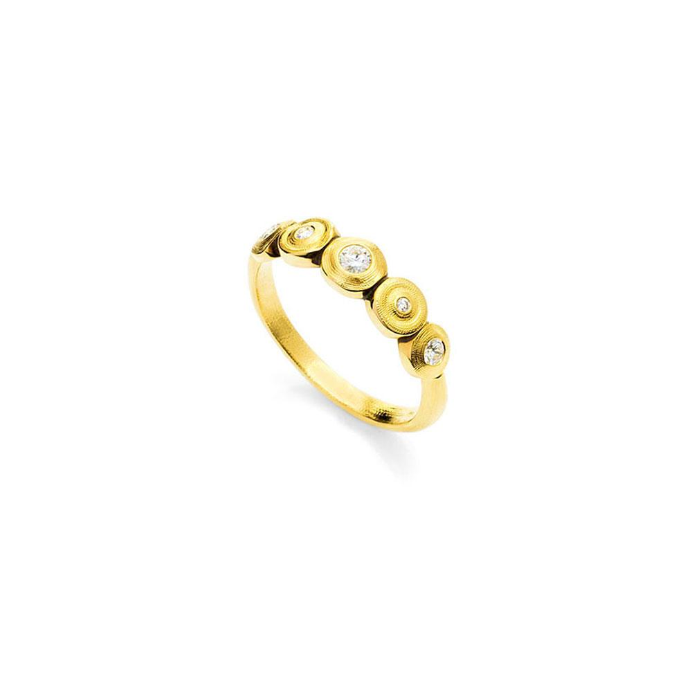 Alex Sepkus Handmade 18K Gold Ring With Circles And Diamonds