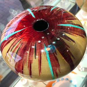 Robert Cherry Beautiful Wooden Vessel Natural and Reds With Turquoise Inlay