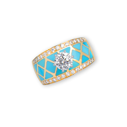 Turquoise Inlay 14K Yellow Gold Band With Diamond Solitaire