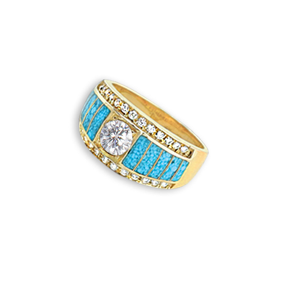 Turquoise Inlay 14K Yellow Gold Ring With Recessed Diamond Center