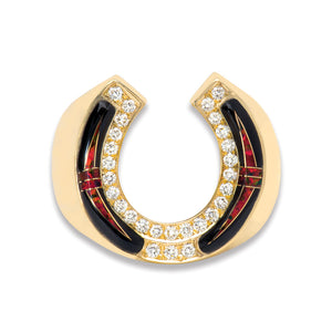 Horseshoe 14K Gold Ring With Opal, Black Jade, Diamonds