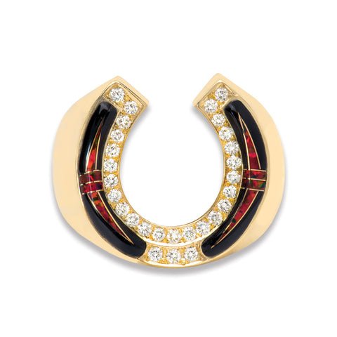 A horseshoe ring with black opal and diamonds designed and made by Gold House.