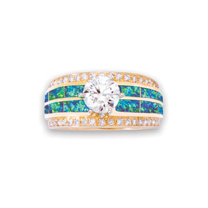 Diamond Center 14K Gold Ring With Opal Inlay
