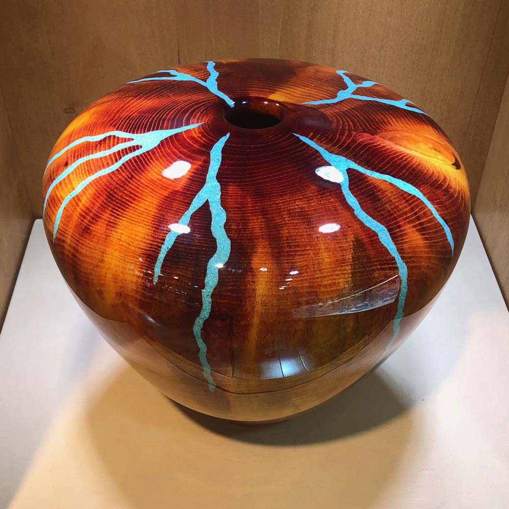 Robert Cherry Beautiful Wooden Vessel Warm Tones With Inlay