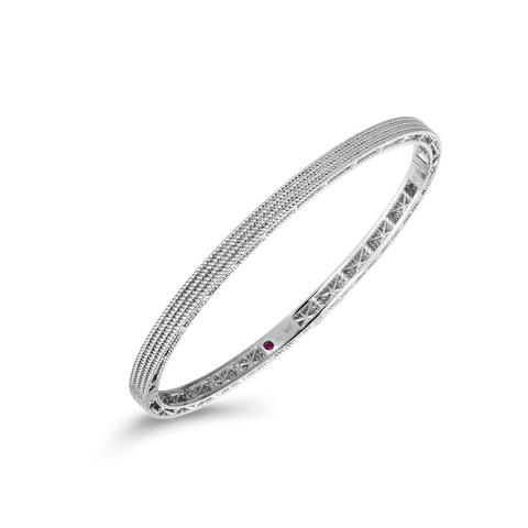 A diamond bangle in white gold made by Roberto Coin Santa Fe Jewelry