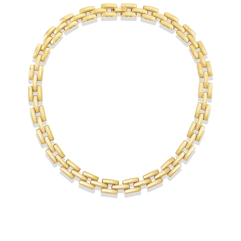 A gold link chain necklace made by roberto coin Santa Fe Jewelry