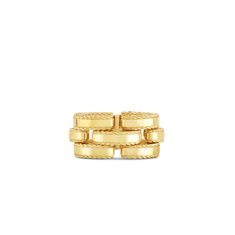 A side profile of a gold ring made by
