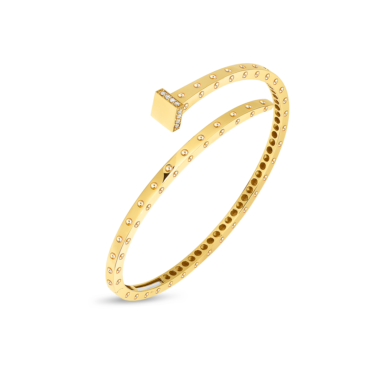 A rail spike bracelet made of gold by Roberto Coin Santa Fe Jewelry.