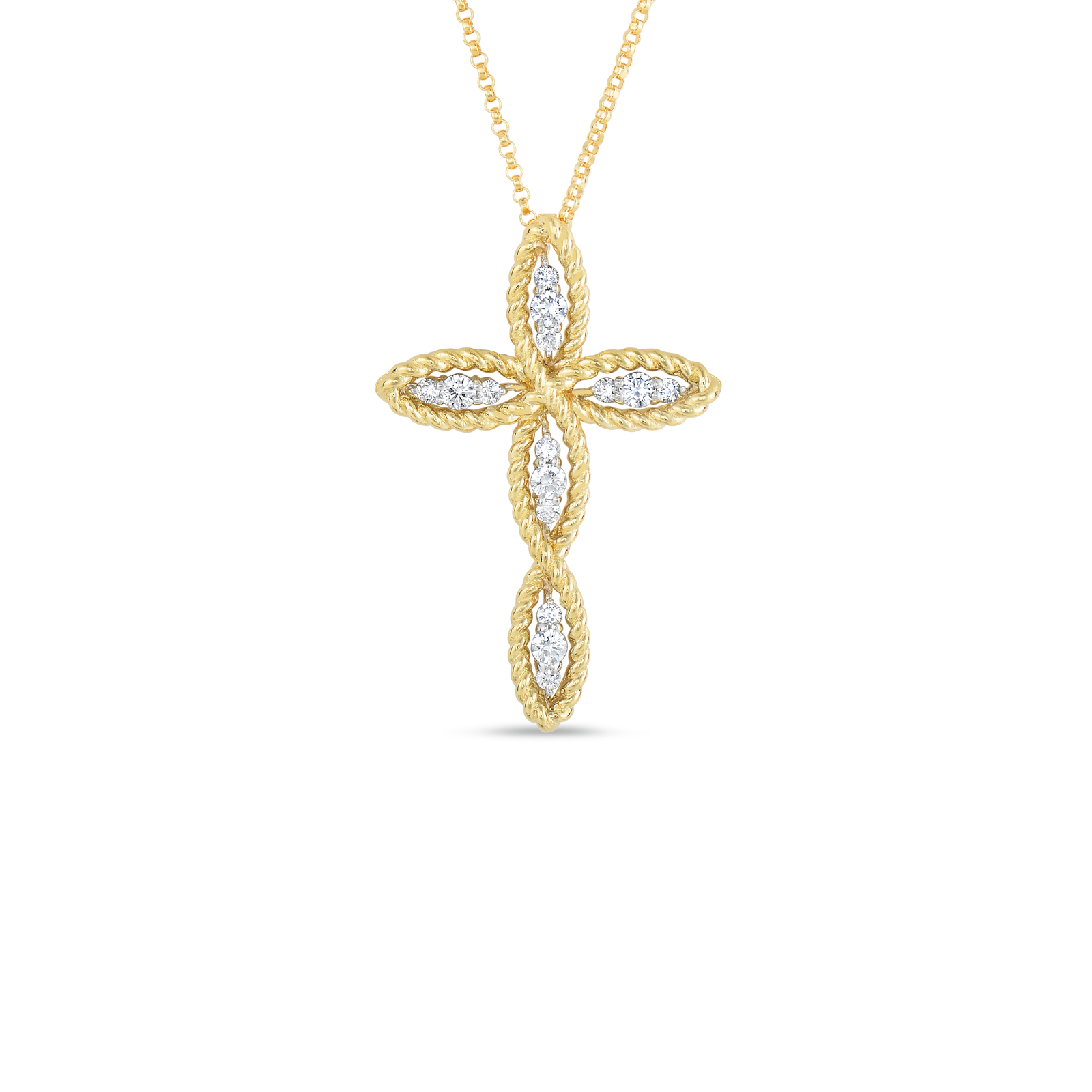 A gold cross with diamonds in the middle made by Roberto Coin Santa Fe Jewelry