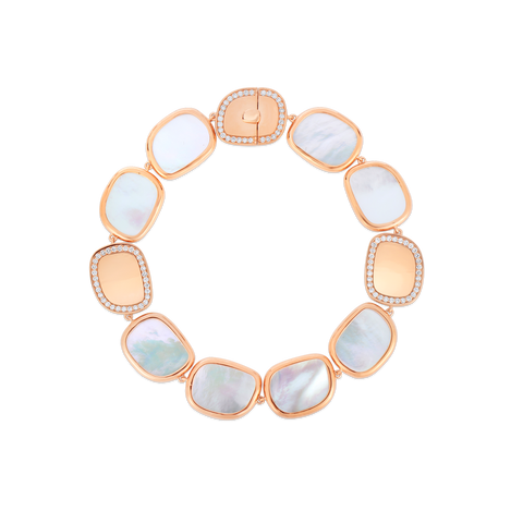 Roberto Coin 18K Gold Mother Of Pearl And Diamond Bracelet