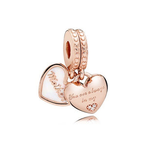 Mother & Daughter Hearts Dangle Charm, PANDORA Rose™, Silver Enamel & Clear CZ