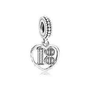18 Years of Love Dangle Charm, Clear CZ