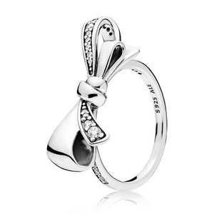 A bow ring in silver by Pandora Jewelry here in Santa Fe.
