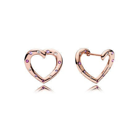 Bright Hearts Hoop Earrings by Pandora Jewelry here in Santa Fe.