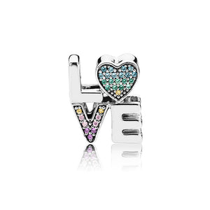 Multi-Color Love Charm With Crystal CZ