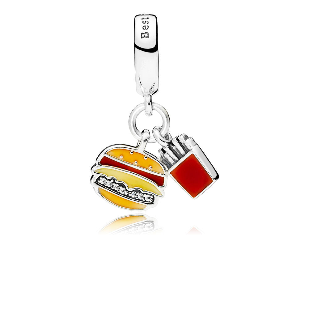 A burger and fries charm by Pandora.