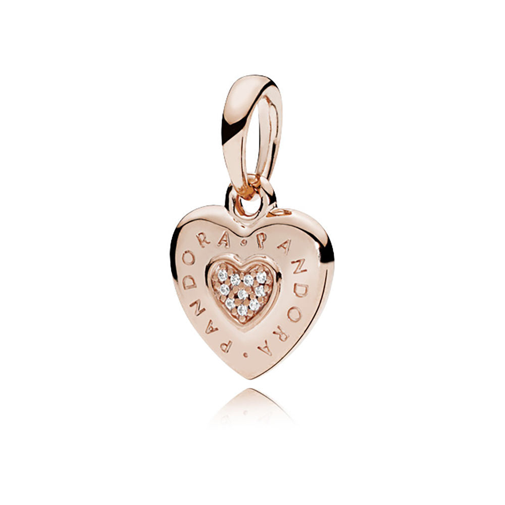 PANDORA Signature Heart Pendant, Rose