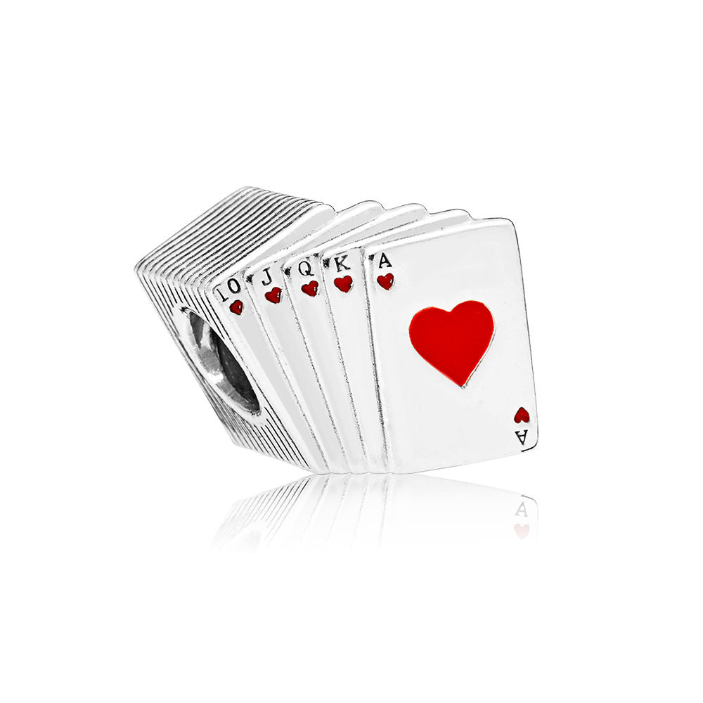 Playing cards charm displaying a royal flush by Pandora.