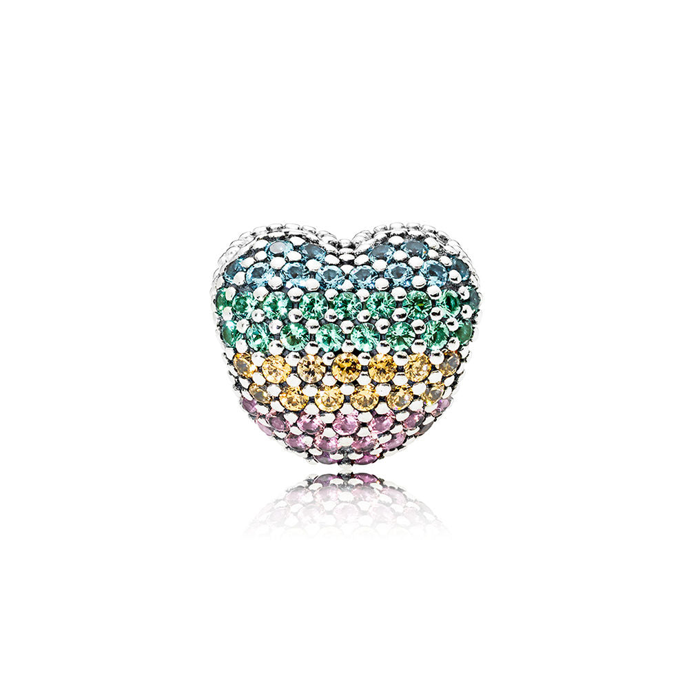 Open My Heart Pave Multi-Colored Crystal Heart Clip