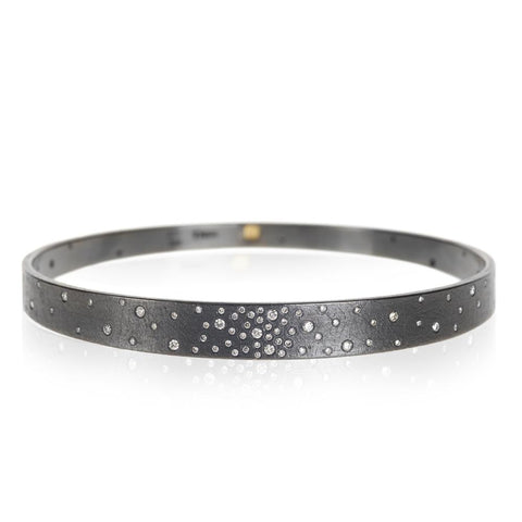 Todd Reed Patina Sterling Silver Bangle Bracelet With White Diamonds