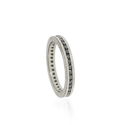 A Todd Reed Palladium Eternity Band with raw black diamonds Santa Fe Jewelry