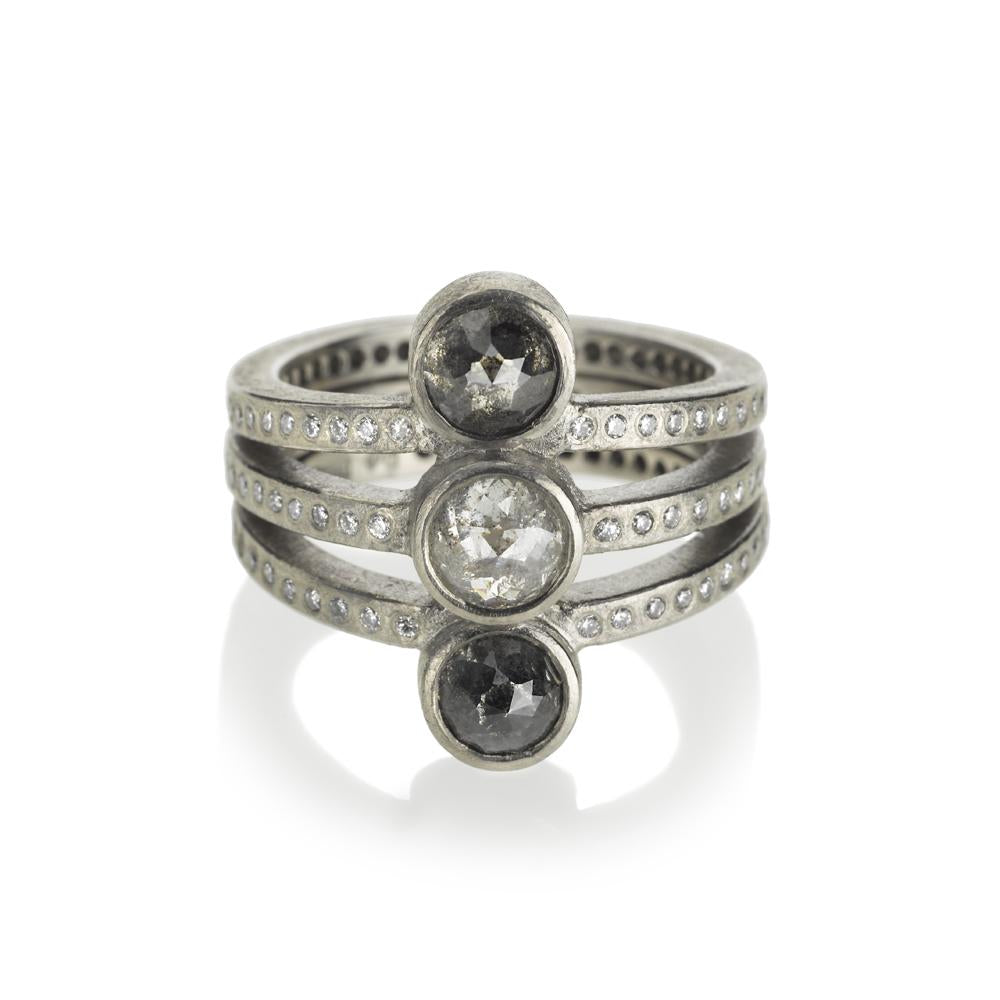 Todd Reed Palladium Three Stone Ring With White and Gray Diamonds