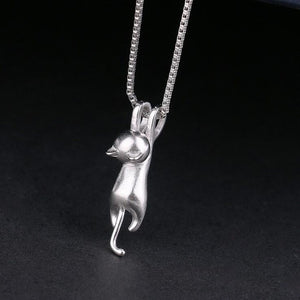Women 925 Pure Sterling Silver Necklaces Cats Pendants & Necklaces