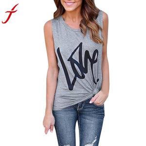 LOVE Letters Printing Womens T-Shirt Tops Sleeveless Casual Crop Tops Shirt Gray
