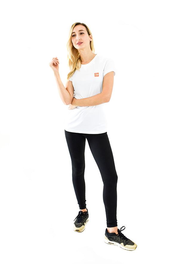 Women's Lightweight Sportswear Tee White/Orange Logo