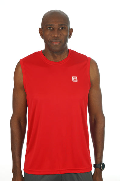 Men's Sleeveless Competitor Tank Red/White Logo