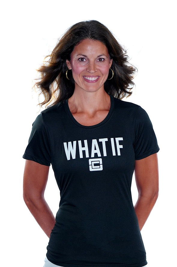 Women's WHAT IF T-Shirt Black/White Logo